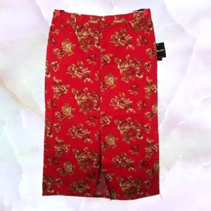 Large Maxi Skirt Red Floral Prin Front Slit NWT